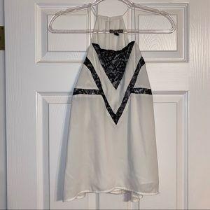Express black & white lace tank top